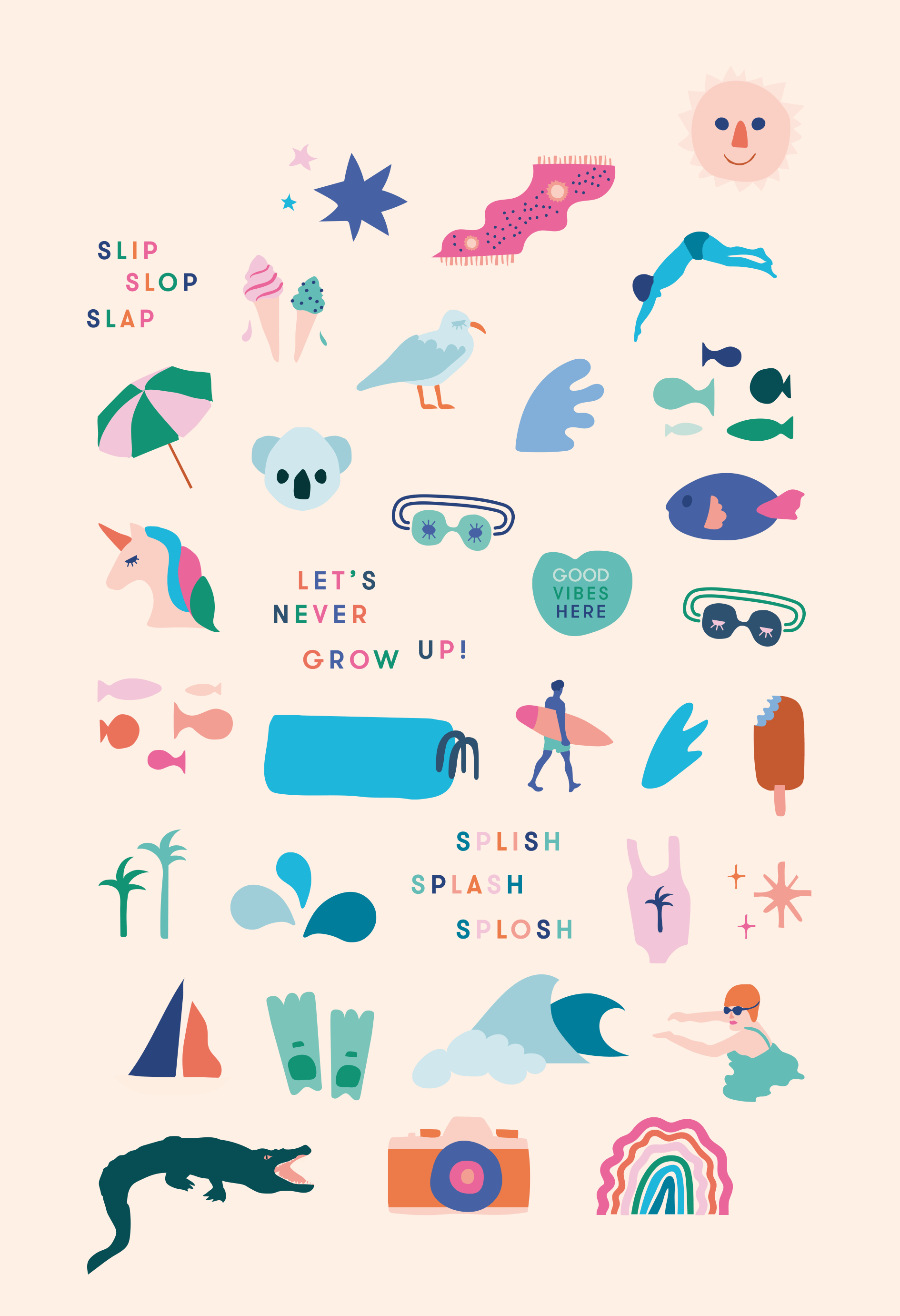 In The Deep Swim School GIPHY icon illustrations